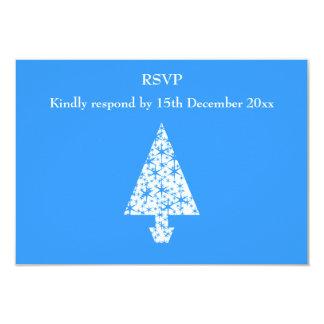 Stylish Blue and White Christmas Tree Design. 9 Cm X 13 Cm Invitation Card