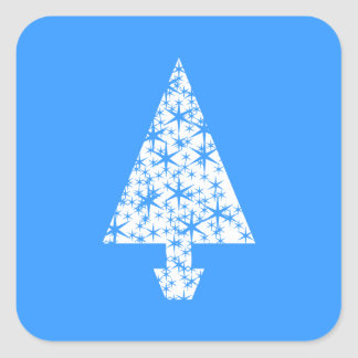Stylish Blue and White Christmas Tree Design. Square Sticker
