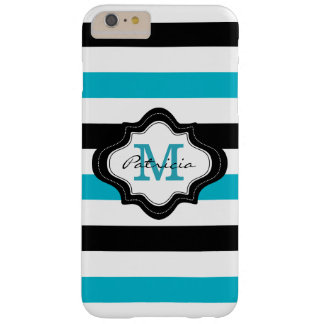 Stylish Blue Black White Stripes Custom Monogram Barely There iPhone 6 Plus Case