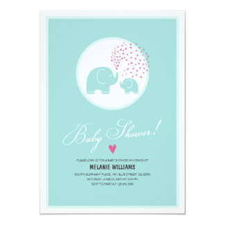 "Stylish Blue Elephants Baby Shower Invitation 5"" X 7"" Invitation Card"