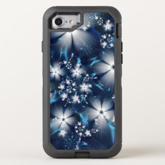 Stylish blue Fractal Flowers OtterBox Defender iPhone 7 Case