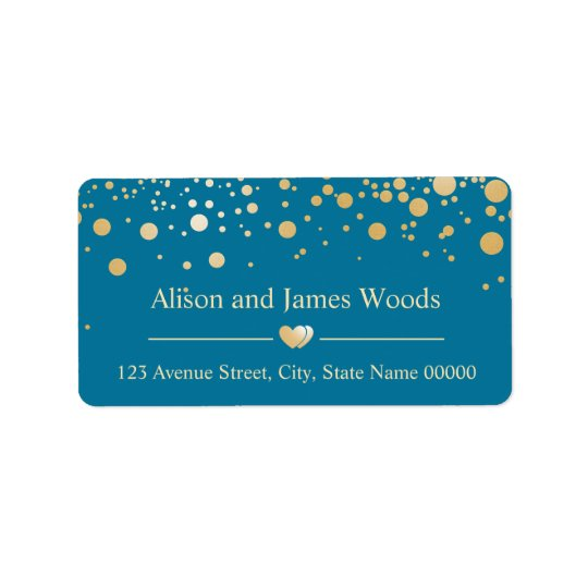 Stylish Blue Gold Confetti Dots Wedding Love Heart Address Label