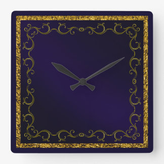Stylish Blue & Gold Frame Square Wall Clock