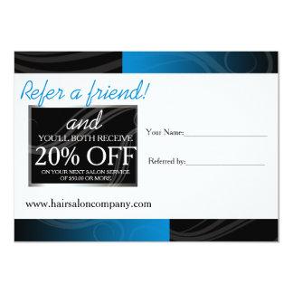 stylish blue hair salon referral card 11 cm x 16 cm invitation card