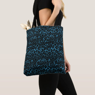 Stylish Blue Leopard Pattern Tote Bag