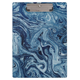 Stylish Blue Marble Water Effect Office Clipboard
