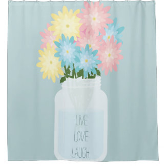 Stylish Blue Mason Jar Inspired Floral Live Laugh Shower Curtain