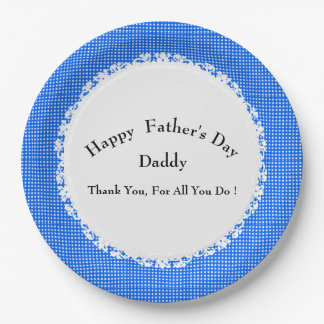 Stylish-Blue-Plaid-Father's-Day-Multi-Template Paper Plate
