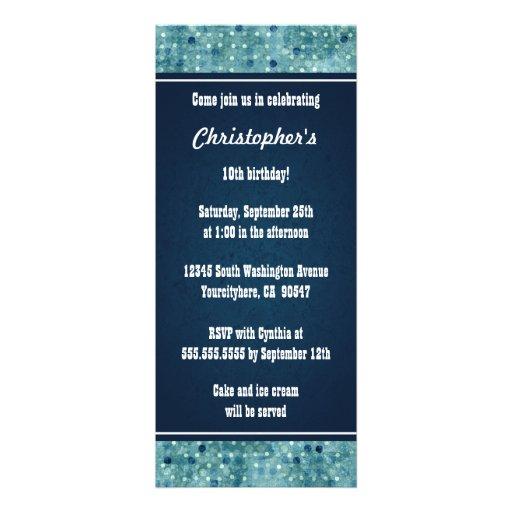 Stylish blue polka dots boys birthday invitation