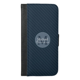 Stylish Blue Stripes w/Monogram iPhone 6/6s Plus Wallet Case