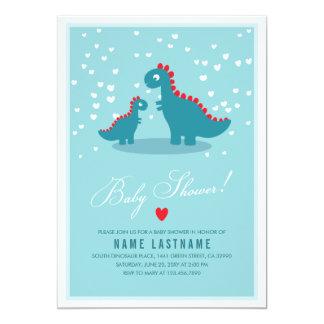 Stylish Blue Teal Dinosaur Baby Shower Invitation