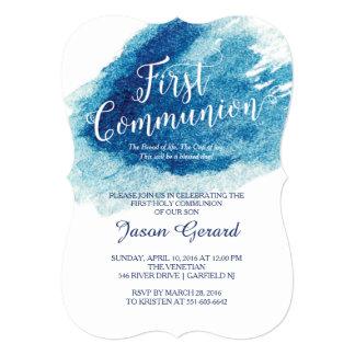 Stylish Blue Watercolor First Communion 13 Cm X 18 Cm Invitation Card