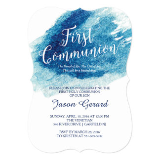 Stylish Blue Watercolor First Communion Card