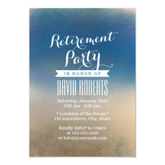 Stylish Blue & White Winter Retirement Party 5x7 Paper Invitation Card