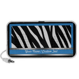Stylish Blue Zebra Print Doodle Speaker