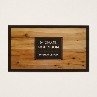 Stylish Border Wood Grain Texture Business Card
