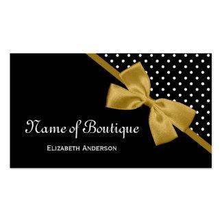 Stylish Boutique Polka Dots Elegant Gold Ribbon Business Card Template