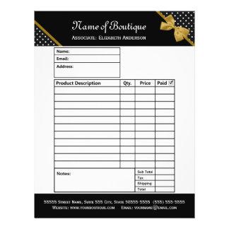 Stylish Boutique Polka Dots Gold Ribbon Order Form 21.5 Cm X 28 Cm Flyer