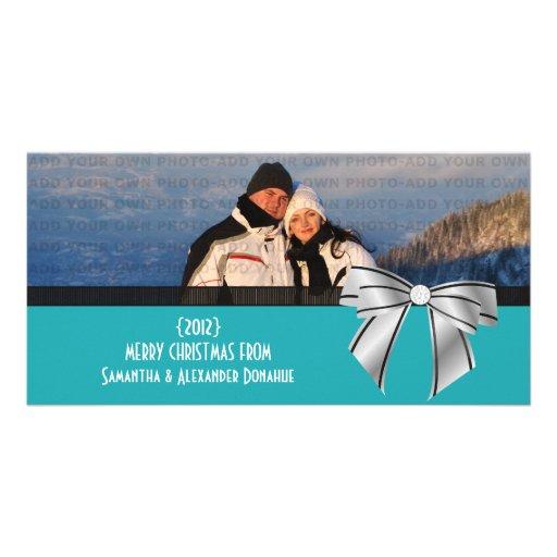 Stylish Bow Holiday Photo Card, Aqua