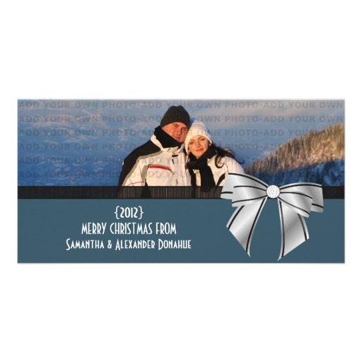 Stylish Bow Holiday Photo Card, Dark Blue