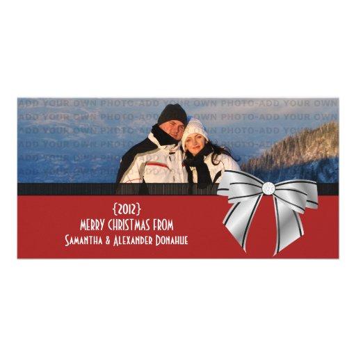 Stylish Bow Holiday Photo Card, Dark Red