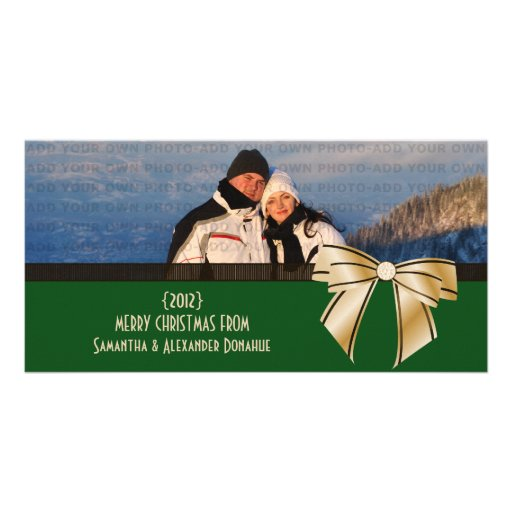 Stylish Bow Holiday Photo Card, Green