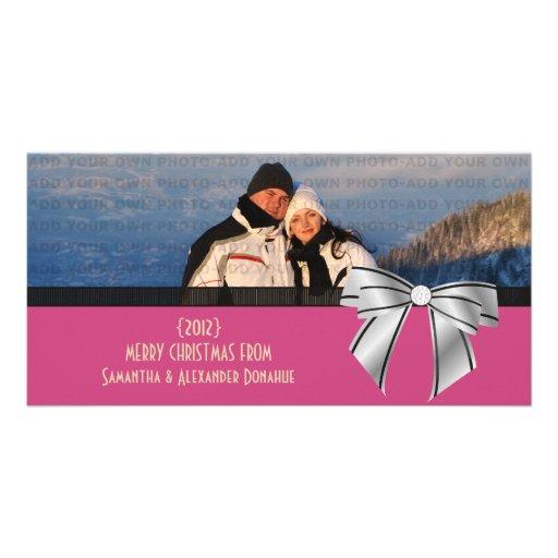 Stylish Bow Holiday Photo Card, Pink