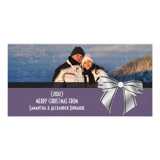 Stylish Bow Holiday Photo Card, Purple
