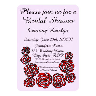 Stylish Bridal Shower with Border of Red Roses 13 Cm X 18 Cm Invitation Card