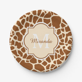 Stylish Brown Giraffe Print Monogram and Name Paper Plate