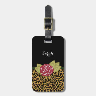 Stylish Brown Gold Leopard Print Red Rose and Name Luggage Tag
