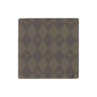 Stylish Brown Harleqiun Horse Pattern Stone Magnet