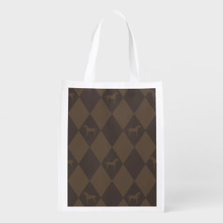 Stylish Brown Harleqiun Horse Pattern Market Totes