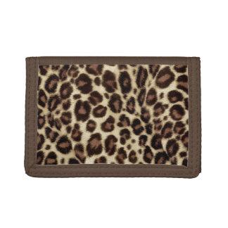 Stylish Brown Leopard Print Women Trifold Wallet