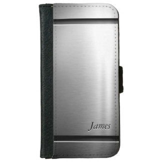 Stylish Brush Metal Stainless Steel Look iPhone 6 Wallet Case