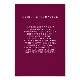 Stylish Burgundy Wedding Guest Information Card