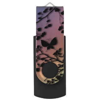 Stylish Butterfly on Rainbow Gradient USB Flash Drive