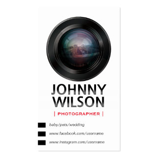 Stylish Camera Lens Photographer QR Code Pack Of Standard Business Cards