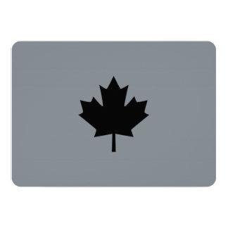 Stylish Canadian Black Maple Leaf 13 Cm X 18 Cm Invitation Card