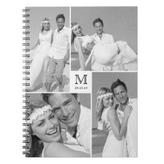 Stylish Center Square Monogram Wedding Photo Spiral Note Book