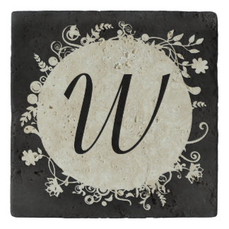 Stylish Chalkboard Gray Monogram Stone Trivet