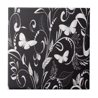 Stylish Chalkboard White Butterflies and Floral Ceramic Tile