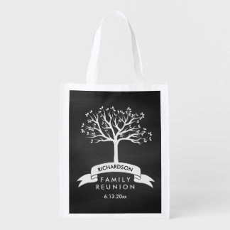 Stylish Chalkboard with Tree Family Reunion Reusable Grocery Bag