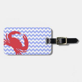 Stylish Chevron & Crab Luggage Tag