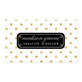 Stylish Chic Black & Gold Polka Dots Custom Business Card Template