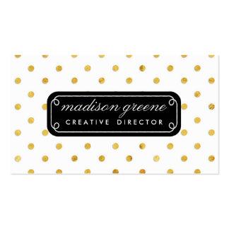 Stylish Chic Black & Gold Polka Dots Custom Business Card Template