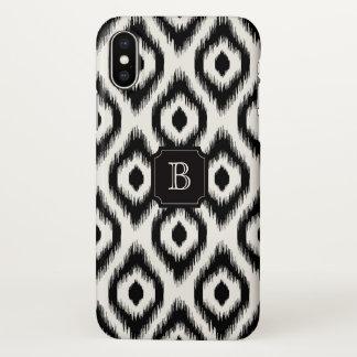Stylish Chic Black Ivory Diamond Ikat Monogram iPhone X Case