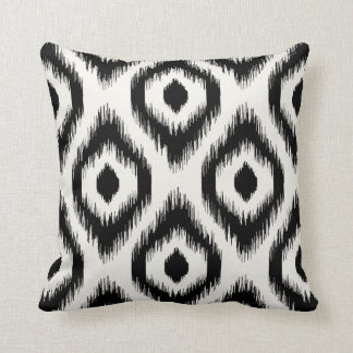 Stylish Chic Black Ivory Diamond Ikat Pattern Throw Cushion