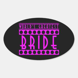 Stylish Chic Brides Gifts World's Greatest Bride Oval Sticker