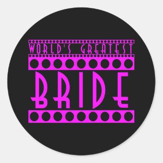 Stylish Chic Brides Gifts World's Greatest Bride Round Sticker